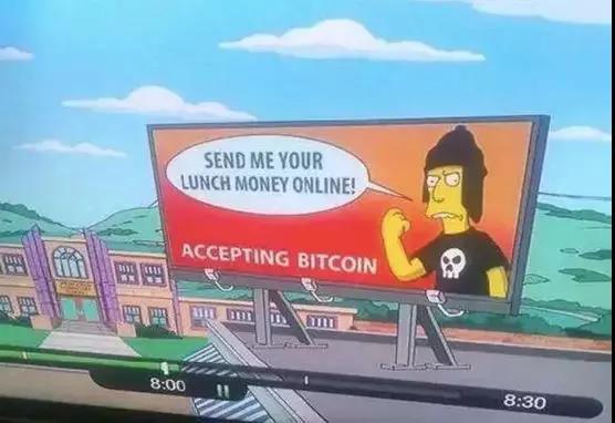 """而在2014年播出中,廣告牌上出現了""""Accepting Bitcoin""""(接受比特幣)的標語。"""