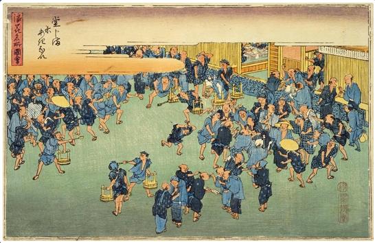 日本國立國會圖書館保存的畫, 描述了大阪堂島大米交易所的情況